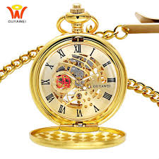 golden skeleton mechanical mens pocket fob watch vintage pendant watch necklace clock antique mechanical hand wind chain watches pocket watch pocket
