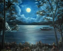 boating in full moon night impressionism oil painting