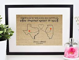 personalized long distance relationship gift valentines day anniversary wedding enement map of any city state or country 8x10 or 11x14 burlap