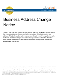 Change Of Address Notification Letter Sample Notice Template Denial