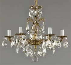 spanish brass crystal chandelier c1950 vintage antique red ceiling light