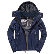 superdry new hooded cliff hiker jackets eclipse navy dark charcoal men s clothing