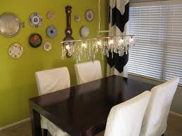 vintage crystal diy linear chandelier with plate wall eclectic in dining room idea 14