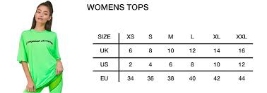 Uk Tops Size Chart Size Guide Criminal Damage Store
