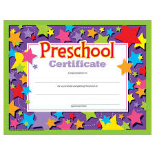 Awesome Collection Of Preschool Certificate Templates Free In