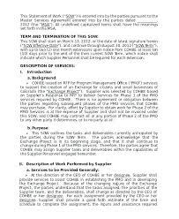 work statements examples statement of work template sample sow safe work method statement