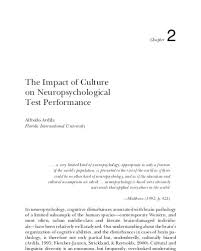 The Impact of Culture on Neuropsychological Test Performance