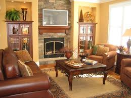 Living Room Furniture Arrangement With Fireplace Comfortable Brown Sofa Also Light Brown Sofa Decorating Ideas