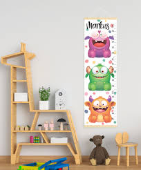 Monster Height Chart Cute Monsters Growth Chart Personalized Canvas Growth Chart