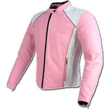 pink white las motorcycle leather jacket
