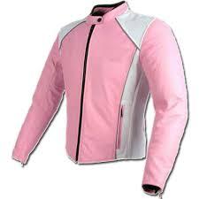 pink white las biker jacket