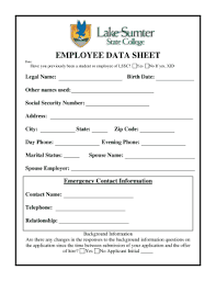 Employee Data Sheet Lakesumter State College Fill Online