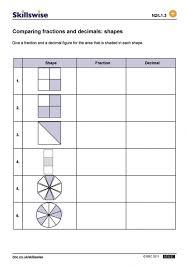 Kindergarten Comparing Fractions And Decimals: Shapes Fraction ...
