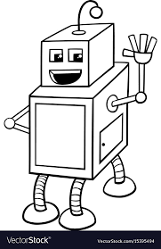 cubical robot character coloring book vector image