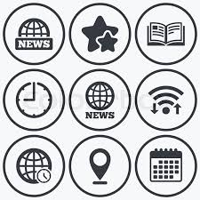 clock wifi and stars icons news icons world globe symbols open  clock wifi and stars icons news icons world globe symbols open book sign education literature calendar symbol vector