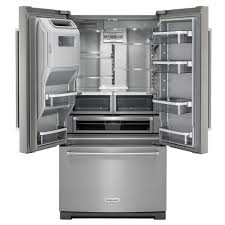 kitchenaid 36 26 8 cu ft french door platinum interior refrigerator with exterior ice and water