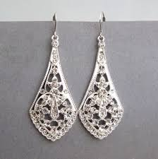 art deco style silver filigree bridal earrings bridal chandelier earrings vintage style rhinestone wedding earrings bridal jewelry anya
