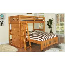 Honey Twin Over Full Loft Bed with Built in Chest and Shelves Discovery  World Furniture