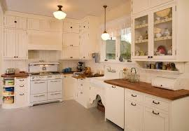 1930s Kitchen Cabinet Kitchen Shabby Chic Style With Flush Mount Ceiling  Lights