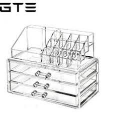 gte 3 layers cosmetic drawers makeup jewelry storage display organizer