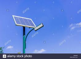 Solar Powered Street Light Pole On A Blue Sky Background