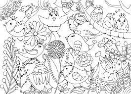 Vogels En Bloemen Kleurplaten Pagina Stockvector Dinaasileva