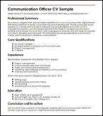 Skills To Put On An Application Communication Officer Cv Sample Myperfectcv