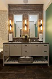 view in gallery custom vanity with chic lamps on a reclaimed wood wall amazing amazing bathroom lighting ideas