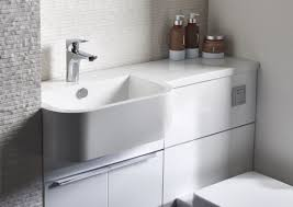 Toilet And Sink In One Match 1000mm Compact Vanity With One Piece Basin Gloss Clay Left