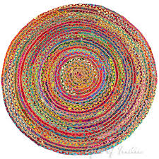 round colorful natural jute chindi sisal woven area braided boho rug 4 to 6 ft