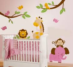 nursery tree wall stickers animal kids car