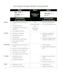 Training Programme Schedule Format Example Of Employee Training Program Te New Schedule Sample