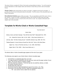 Examples Of Work Cited Template For Works Cited Or Works Consulted Page
