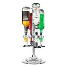 led rotary liquor dispenser holds 4 bottles