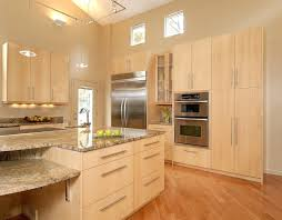 maple cabinets with granite kitchen contemporary ceiling lighting clerestory island countertops light