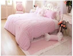 princess comforter set queen pink luxury girls lace ruffle tulle bowtie bedding sets 3