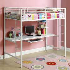 modern top bunk beds with desks made of white metal and playful rug plus space saving