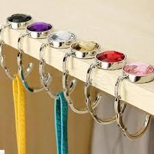 details about diy foldable folding crystal alloy purse hook hanger bag holder handbag
