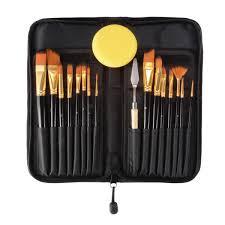 <b>15PCS Nylon</b> Hair Artist Paint <b>Brushes</b> Palette Sponge Set with ...