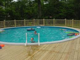 above ground pool with deck attached to house. Deck Railings Around Above Ground Pools   Free Standing Pool Not Attached To House With
