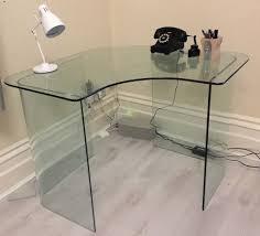 modern corner glass desk