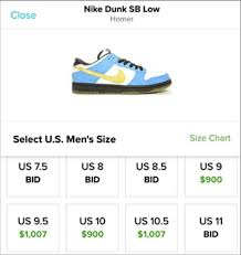 Nike Dunk Size Chart Nike Dunk Low Sb Homer Yellow Blue White Sneakers Mens Shoes