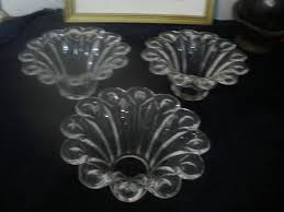 vintage 3 bobeche czech glass with 5 pinhole for chandelier parts