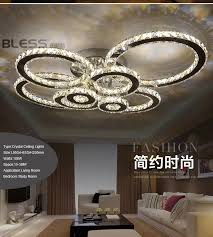 surface mounted moder led ceiling crystal chandeliers for lobby living room bedroom circle ring avize cristals large chandelier