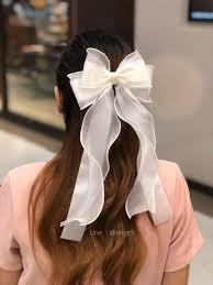 โบว์ติดผม โบว์ยาวสไตล์คุณหนู(สีขาว) - ฺBan le thai hair accessory