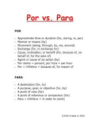 Por Vs Para Chart Google Search Spanish Language
