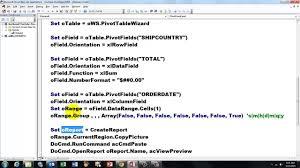 Access Vba To Create Pivot Table Reports