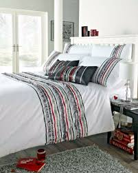 double bed duvet cover set carnival charcoal white grey red ruffle detailing