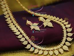 nl2455 exclusive south indian traditional ad white diamond gold mango design finish haram long necklace fashion jewelry