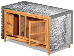 the foil backed insulation comes in rolls 60cm 2 wide and 7 5m long so one roll will make a cover for a standard 6 x2 hutch with spare left over